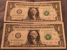 Lot of 2 2013$1 FANCY SERIAL NUMBER # FRN B43335335H & B43335339H