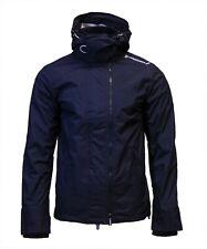 Superdry Mens New Tech Hood Pop Zip Windcheater Triple Zip Jacket Coat Navy Ecru