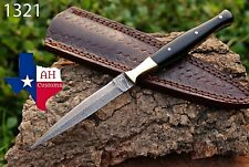Hand Forged Damascus Steel Dagger Throwing Boot Knife & Horn Handle Ah-1321