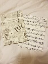 6x8 New Blank Page Diary Journal Music Note And Vintage Newspaper Themed