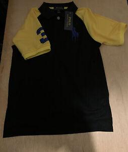 POLO RALPH LAUREN Boy's Big Pony Short Sleeve Polo Shirt Size M (10-12) Black