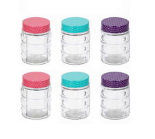6 x Glass Storage Jars Airtight Food Preserve Preserving Jars Polka Dot Screw