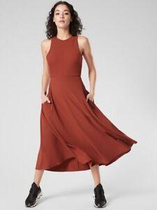 ATHLETA Winona Midi Support Dress  S  Small | Russet Brown  NEW