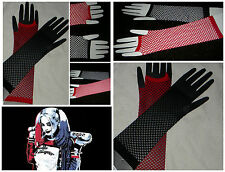 HARLEY QUINN RED/BLACK FISH NET ARM WARMERS GLOVES FINGERLESS SUCIDE SQUAD *USA*