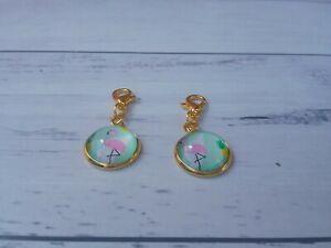 Zipper Charm, bracelet Charm, planner decoration - Flamingos Charm