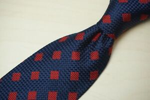 Sulka Navy Blue Cherry Square Embroidered ALL SILK Tie