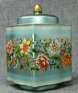 """VINTAGE Riley's Toffee ENGLAND Embossed Tin, Steel Blue Floral 6 1/2"""" Tall HTF!!"""