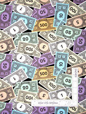 "Monopoly Game Money Toss on Black Cotton Fabric QT 20902-J Game Night 25"" Length"