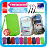 TRAVEL WALLET PASSPORT HOLDER DOCUMENT ORGANIZER CARD+CARABINER KEY PEN*Lm Green