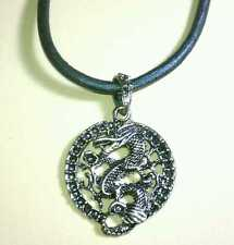 NEW DARK SIDE GENUINE LEATHER DRAGON THICK CIRCLE CLAW CLASP PENDANT NECKLACE