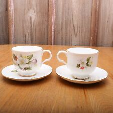 2 Sadler Bone China Leaf Holly Cup and Saucer Tea Made In England