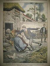 CRIME ASSASSINAT FERMIERE A FIRMINY CRIMINALITE ENFANTINE LE PETIT JOURNAL 1907
