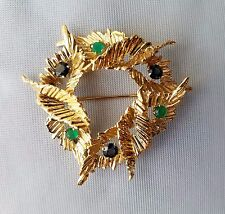 Vintage Handcrafted 14K Yellow Gold Emerald Sapphire Brooch Pin 21.5 Gr.