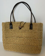 Womens Straw Wicker Handbag Tote Leater Handle Hand Crafted In Philippines