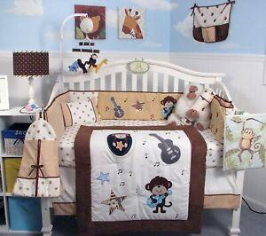 SoHo Baby Crib Bedding 10Pc Set, Rockstar Monkey