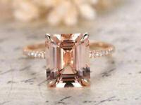 3Ct Emerald Cut Morganite Diamond Solitaire Engagement Ring 14K Rose Gold Over