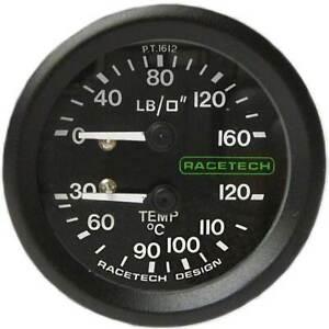 """Racetech Oil Pressure/Temp Gauge Backlit 1/8"""" BSP Nipple Fitting & 7ft Pipe"""