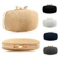 Ladies Metallic Braided Box Clutch Bag Bow Clasp Evening Bag Prom Handbag KL2457