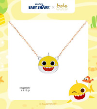 Official BABY SHARK Yellow Gift Real Solid Gold 18k 75% Kid Girl Necklace Chain