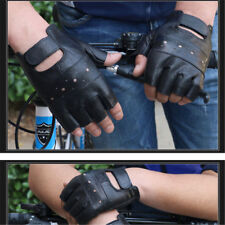 Punk Fuax Leather Gloves Half Finger Fingerless Biker Sports Cycling Black TR