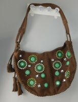 GAP Purse Brown Suede Leather Tote Bag HOBO Shoulder Bag Handbag Embroidered