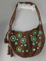 GAP Purse Brown Suede Leather Tote Bag HOBO Shoulder Bag Handbag Embroidered