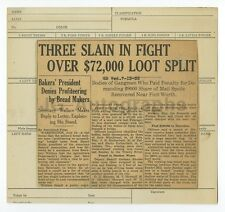 Vintage Crime News Clipping - Fort Worth, Texas - Triple Murder - 1933