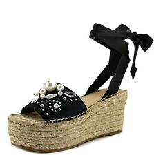 New Women's Guess Open Toe Wedges, Size 6, Espadrille, Lace Up, Pearls, Black