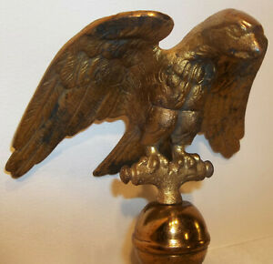 Antique Cast Brass Flag Pole Eagle Topper Finial Lodge Hall School Parade