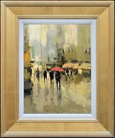 Framed Oil Painting, Signed by LawSon, Rainy Street Scenery, For Memorable Gift