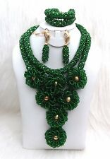 Latest Design Mixed Greens Wedding Bridal African Beads Jewellery Set