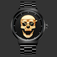 Mens Quartz Watch Black Case Casual Stainless Steel Band Skull Face White Hands