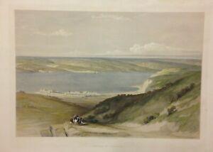 LAKE TIBERIAS ISRAEL 1844 DAVID ROBERTS ANTIQUE VERY LARGE LITHOGRAPHIC VIEW