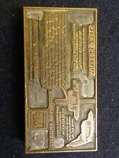 Miller Falls Drill Print Plate Vintage Advertising Metal Plate on Wood Base Rare