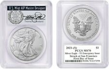 2021-(S) $1 Silver Eagle MS70 PCGS T1 Emergency Issue  FDOI T Cleveland Wreath