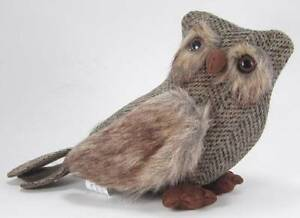 Hootie Tweed  Owl with Fur Trim Hand Crafted Country Cottage Folk Art 6.5""