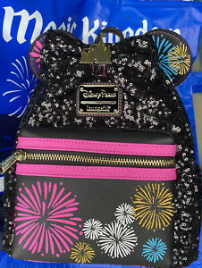 Minnie Mouse Main Attraction December Castle Fireworks Loungefly Backpack Bag