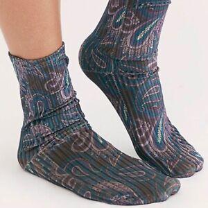 FREE PEOPLE Trixie Socks Velvet Ink Paisley Floral Ladies One Size Teal Purple