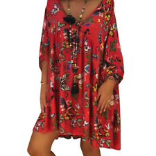 Women Plus Size Deep V-Neck Butterfly Printed Dress Loose Casual Summer Dresses