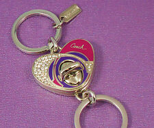 NEW Coach Pink/Purple Swarovski Pave Crystal Heart Valet Key Chain Ring 92961