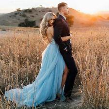 Blue Beach Wedding Dresses V-neck Backless Front Split Boho Tiered Bridal Gowns