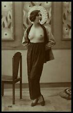 Original 1910 French Postcard Photo Voluptuous Nude Girl Smoking