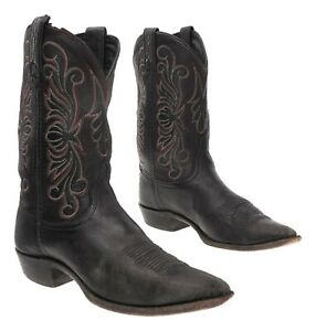 Vtg DAN POST Cowboy Boots 8.5 M Womens Black Leather Western Boots Motorcycle