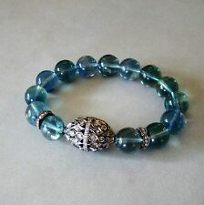 U&C Sundance Blue Green Fluorite Diamond Pave Bead Statement 925 Silver Bracelet