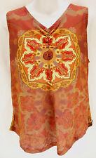VENEZIA JEANS Multicolor Sheer Floral Paisley V-Neck Tank Top Women's Size 14/16