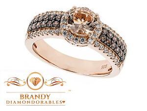 Brandy Diamondorables® Chocolate Brown 18K Rose Gold Silver Morganite Ring 2CT