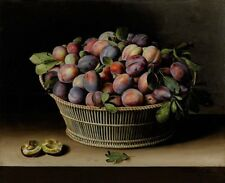 """oil painting handpainted on canvas""""Still Life with Basket of Plums """"@13590"""