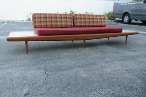 Mid Century Modern Adrian Pearsall Sofa XL Travertine Marble End Tables 1706