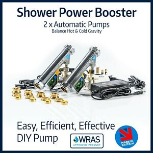 Shower Power Booster | 2 x Fully Automatic Pumps | Balance Hot & Cold Gravity