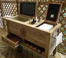 Patio Cooler Bar Cart Wood Table Outdoor Kitchen Wine Rack Ice Chest Storage Bin